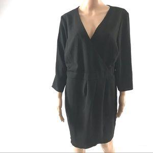 Asos Women's Faux Wrap Dress Size 14 Black 3/4